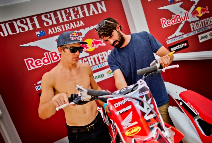 Josh explaining parts of his bike